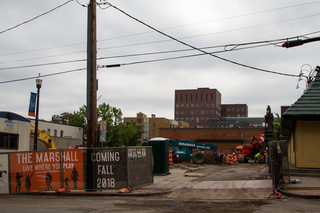 Construction continues at the South Crouse Avenue lot after the building that housed Hungry Chuck's was torn down to make way for an eight-story multiuse complex. Photo taken July 5, 2017