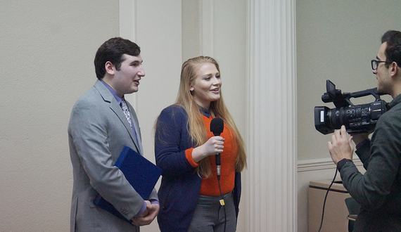 Eric Evangelista and Joyce LaLonde sworn in along with Student Association cabinet